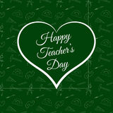 Vector Happy Teacher s Day inside green heart Royalty Free Stock Photo