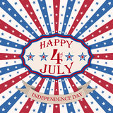 Vector Happy 4th of July background with stars and stripes. USA Independence Day festive design. Stock Photography