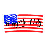 Vector Happy 4th of July lettering with stylized USA national flag. Design element for fourth of July. Royalty Free Stock Photography