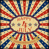 Vector Happy 4th of July retro design. Independence Day background. Royalty Free Stock Images
