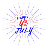 Vector Happy 4th of July text lettering for greeting card, flyer, poster with fireworks. Isolated on white. Stock Photography