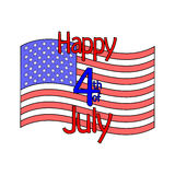 Vector Happy 4th of July with USA national flag in cartoon style. Decoration for USA Independence Day. Royalty Free Stock Photo