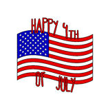 Vector Happy 4th of July with USA national flag in cartoon style. Decoration for USA Independence Day. Stock Photo