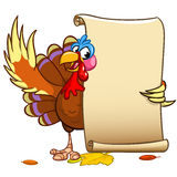 Vector happy Thanksgiving turkey with blank scroll. On white background Stock Photography