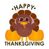 Vector Happy turkey with pumpkins, thanksgiving card royalty free stock image