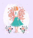 Vector Happy valentine day illustration of character young girl with spring flowers. Happy valentine day template card with hand drawn redhead woman with heart Stock Photo