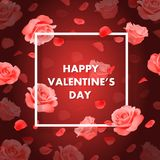 Vector Happy Valentine`s day background with frame, roses and petals. Royalty Free Stock Photography