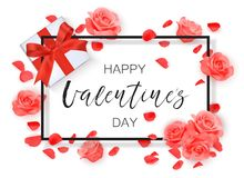 Vector Happy Valentine`s day background with frame, roses and petals. Royalty Free Stock Photo
