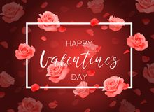 Vector Happy Valentine`s day background with frame, roses and petals. Royalty Free Stock Image