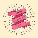 Vector Happy Valentine`s Day greeting card with ribbon and light rays. Vector Happy Valentine`s Day greeting card with ribbon and vintage light rays and hearts vector illustration