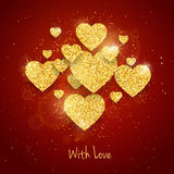 Vector Happy Valentine`s Day greeting card with sparkling glitter gold textured heart on red background Stock Image