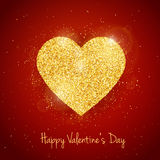 Vector Happy Valentine`s Day greeting card with sparkling glitter gold textured heart on red background Stock Photos