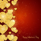 Vector Happy Valentine`s Day greeting card with sparkling glitter gold textured hearts on red background Royalty Free Stock Images