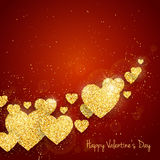 Vector Happy Valentine`s Day greeting card with sparkling glitter gold textured hearts on red background Stock Images