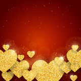 Vector Happy Valentine`s Day greeting card with sparkling glitter gold textured hearts on red background Royalty Free Stock Photo