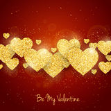Vector Happy Valentine`s Day greeting card with sparkling glitter gold textured hearts on red background Royalty Free Stock Image