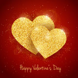 Vector Happy Valentine`s Day greeting card with sparkling glitter gold textured 2  hearts on red background Royalty Free Stock Photography