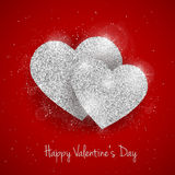 Vector Happy Valentine`s Day greeting card with sparkling glitter silver textured heart on red background Stock Images