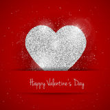 Vector Happy Valentine`s Day greeting card with sparkling glitter silver textured heart on red background Stock Image