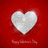 Vector Happy Valentine`s Day greeting card with sparkling glitter silver textured heart on red background Royalty Free Stock Photos