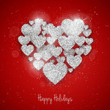 Vector Happy Valentine`s Day greeting card with sparkling glitter silver textured hearts on red background Stock Photography