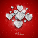 Vector Happy Valentine`s Day greeting card with sparkling glitter silver textured hearts on red background Stock Photo