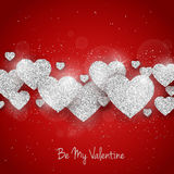Vector Happy Valentine`s Day greeting card with sparkling glitter silver textured hearts on red background Royalty Free Stock Photo