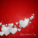 Vector Happy Valentine`s Day greeting card with sparkling glitter silver textured hearts on red background Royalty Free Stock Image