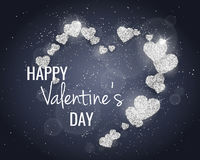 Vector Happy Valentine`s Day greeting card with sparkling glitter silver textured hearts. Seasonal holidays background. Vector Happy Valentine`s Day greeting Stock Photography