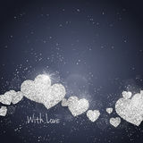 Vector Happy Valentine`s Day greeting card with sparkling glitter silver textured hearts. Seasonal holidays background. Vector Happy Valentine`s Day greeting Royalty Free Stock Photos