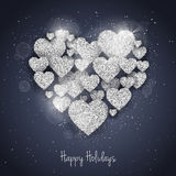 Vector Happy Valentine`s Day greeting card. With sparkling glitter silver textured hearts. Seasonal holidays background. Love Symbols in heart shape Stock Image