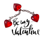 Vector Happy Valentine`s Day Vintage Card. Be My Valentine Lettering Royalty Free Stock Photo