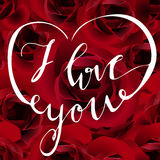 Vector Happy Valentines day background. With handwritten words I love you, roses royalty free illustration