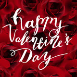 Vector Happy Valentines day background. With handwritten words happy Valentines Day, roses royalty free illustration