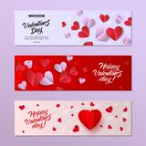 Vector happy valentines day card template set. Vector happy valentines day cards template set. origami paper red hearts. Invitation card, party poster layout Stock Images