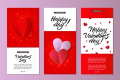 Vector happy valentines day card template set. Vector happy valentines day cards template set. origami paper red hearts. Invitation card, party poster layout Royalty Free Stock Image