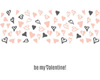 Vector Happy Valentines Day doodle template with hand drawn hearts Royalty Free Stock Image