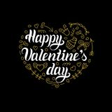 Vector Happy Valentines Day hand lettering. Festive calligraphy on heart shape background for greeting card, invitation. Vector Happy Valentines Day hand Stock Image