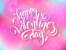 Vector happy valentines day lettering on blur background.  Stock Photo