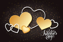 Vector happy valentines day lettering with golden hearts.  Royalty Free Stock Photography