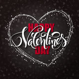 Vector happy valentines day lettering with heart shaped frame Stock Photography