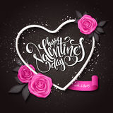 Vector happy valentines day lettering with heart shaped frame, rose and banner Royalty Free Stock Image