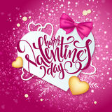 Vector happy valentines day lettering with paper heart shapes, ribbon bow, golden hearts on shiny background Stock Photography