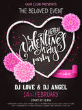 Vector happy valentines day party poster with lettering, chrysanthemum flowers and heart frame Royalty Free Stock Images