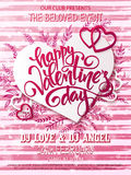 Vector happy valentines day party poster with lettering, paper heart shape, hearts on watercolor stripped background Royalty Free Stock Images