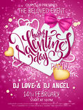 Vector happy valentines day party poster with lettering, paper heart shape, ribbon bow, golden hearts on shiny Royalty Free Stock Photos
