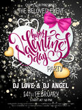 Vector happy valentines day party poster with lettering, paper heart shapes, ribbon bow, golden hearts on shiny Stock Photography