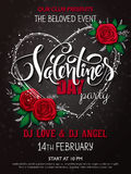 Vector happy valentines day party poster with lettering, rose buds and heart frame Royalty Free Stock Photography