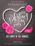 Vector happy valentines day party poster with lettering, rose buds and heart frame Stock Image