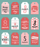 Vector Happy Woman`s day cards templates. Hand drawn 8 March gift tags. Romantic labels,posters. Vintage love background Royalty Free Stock Images